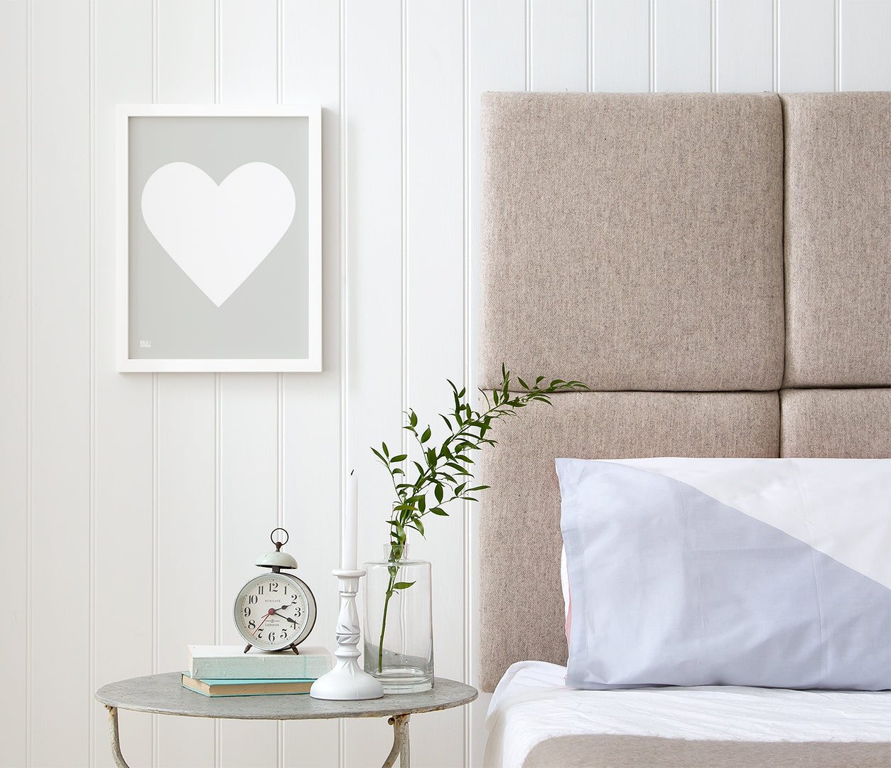 Love Heart Print, White on Light Grey