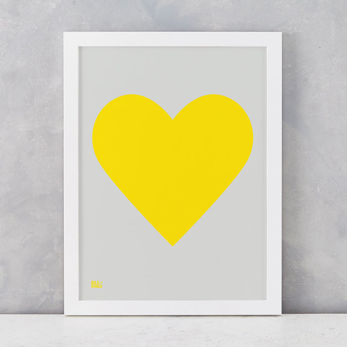Love Heart Print, Yellow on Light Grey