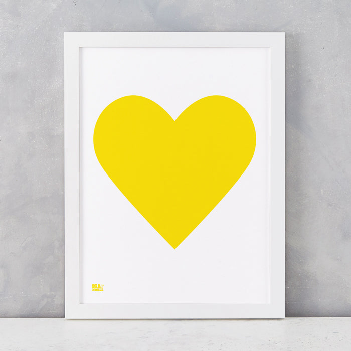 Love Heart Print, Yellow on White