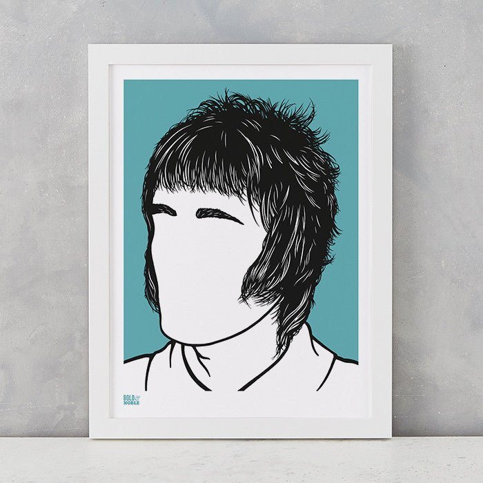 Liam Gallagher Oasis Print in Blue, screen printed on recycled card, deliver worldwide