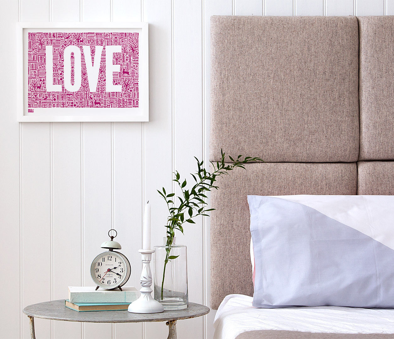 Wall Art Ideas: Economical Screen Prints, Love Letters Print in Deep Magenta