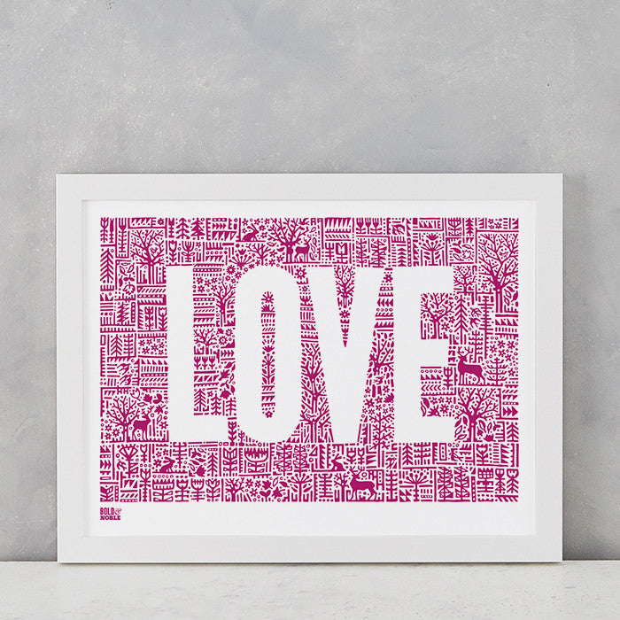 Love Letters in Deep Magenta, screen printed on recycled paper, deliver worldwide