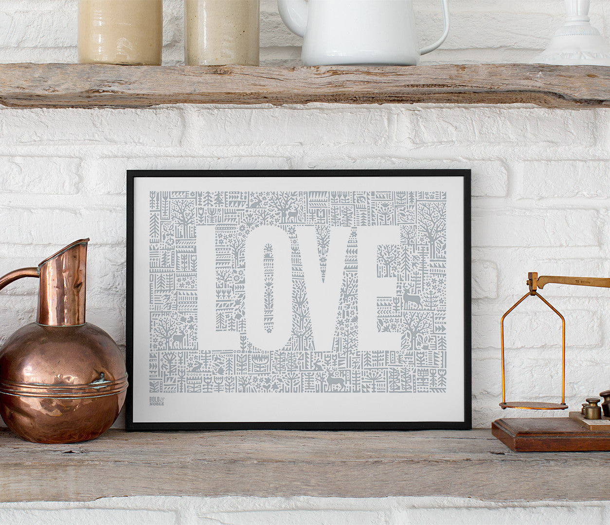 Wall Art Ideas: Economical Screen Prints, Love Letters Print in Warm Grey