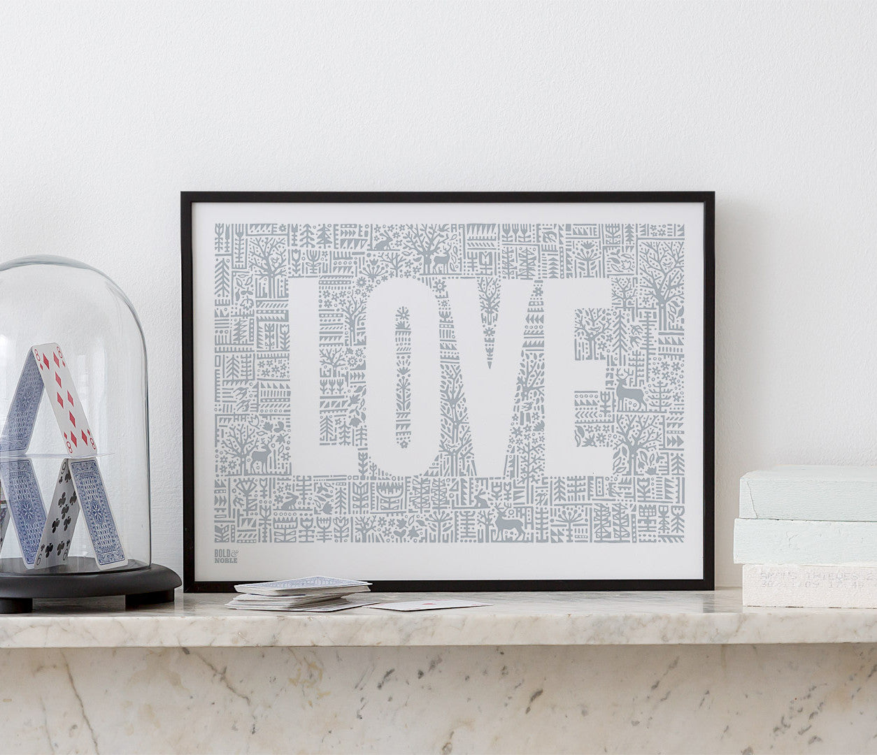 Pictures and Wall Art, Screen Printed Love Letters in Warm Grey