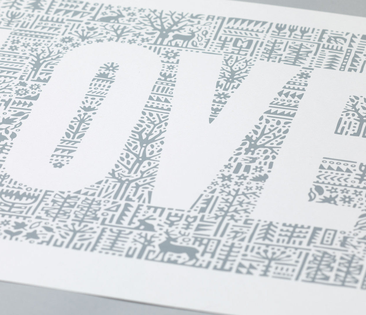 Close of Love Letters Print in warm grey