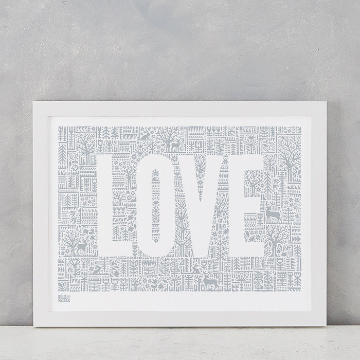 Love Letters in Warm Grey, screen printed on recycled paper, deliver worldwide