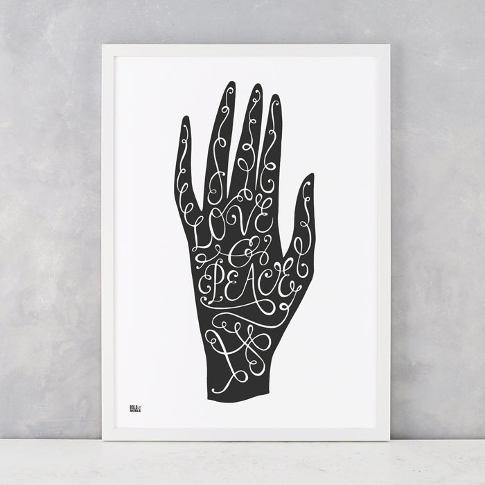 'Love & Peace Hand' Art Print in Soft Black