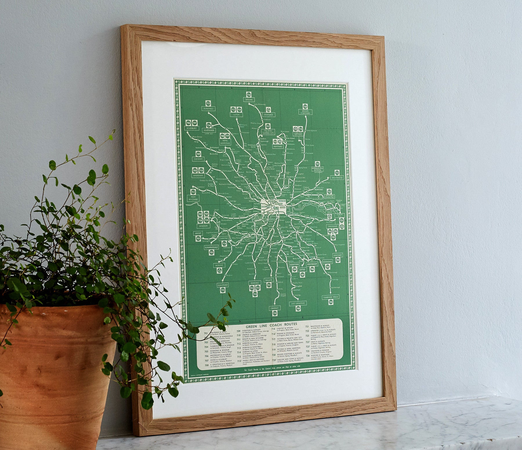 1956 Original 'Green Line Bus' Map with Oak Frame