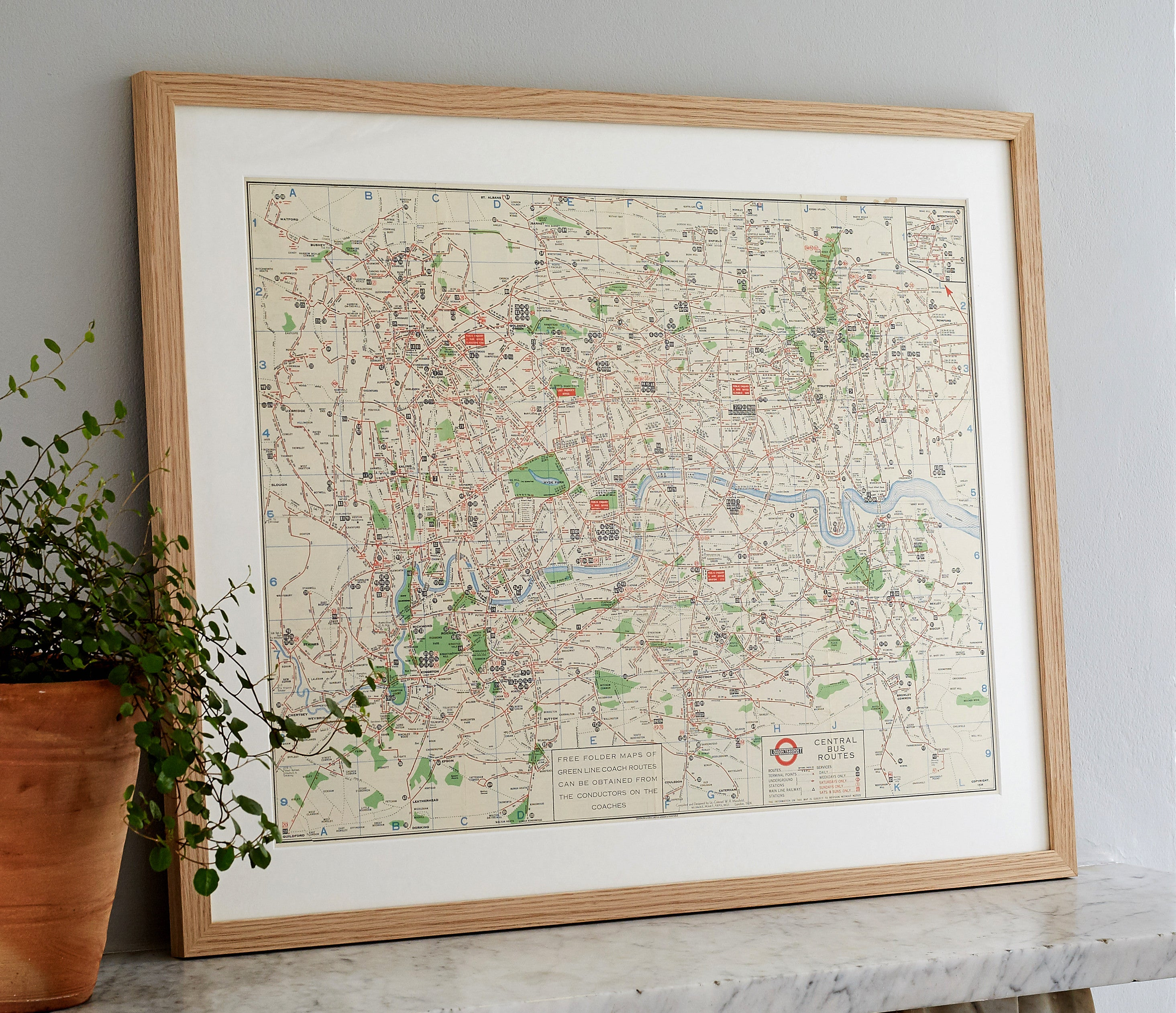 1934 Original London Central Bus Routes Map with Oak Frame Bold