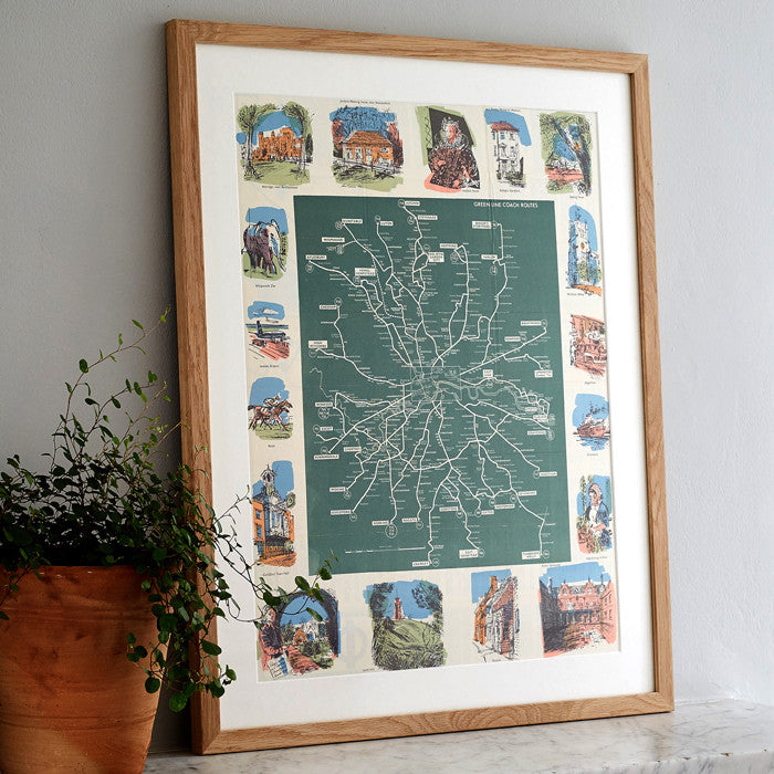 1966 Original 'Green Line Bus' Map with Oak Frame