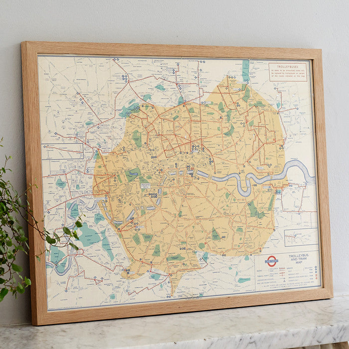 1934 Original London 'Trolleybus & Tram' Map with Oak Frame