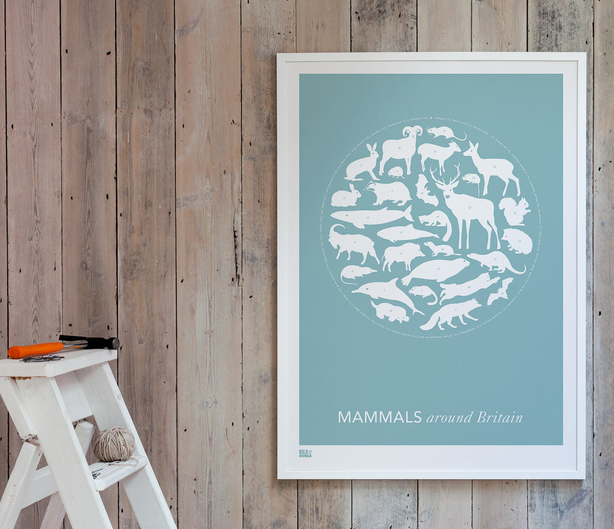Wall Art ideas: Economical Screen Prints, Mammals Around Britain Print in Coastal Blue