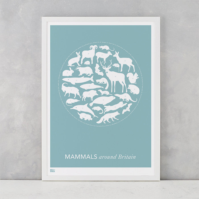 Mammals Around Britain Print in Coastal Blue, screen printed on recycled paper, deliver worldwide
