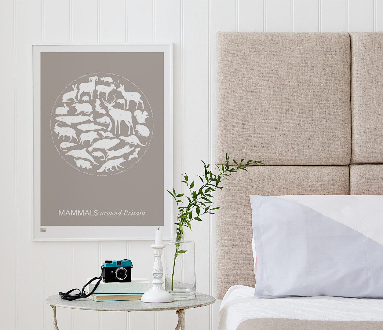 'Mammals Around Britain' Art Print in Warm Stone