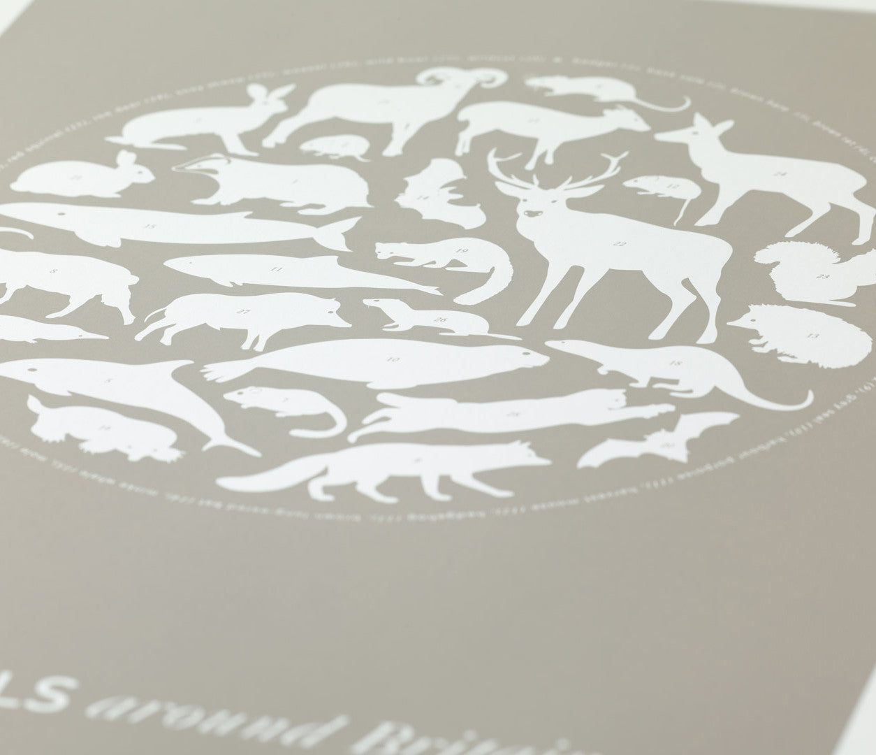 Close up of Mammals Around Britain Print in Warm Stone