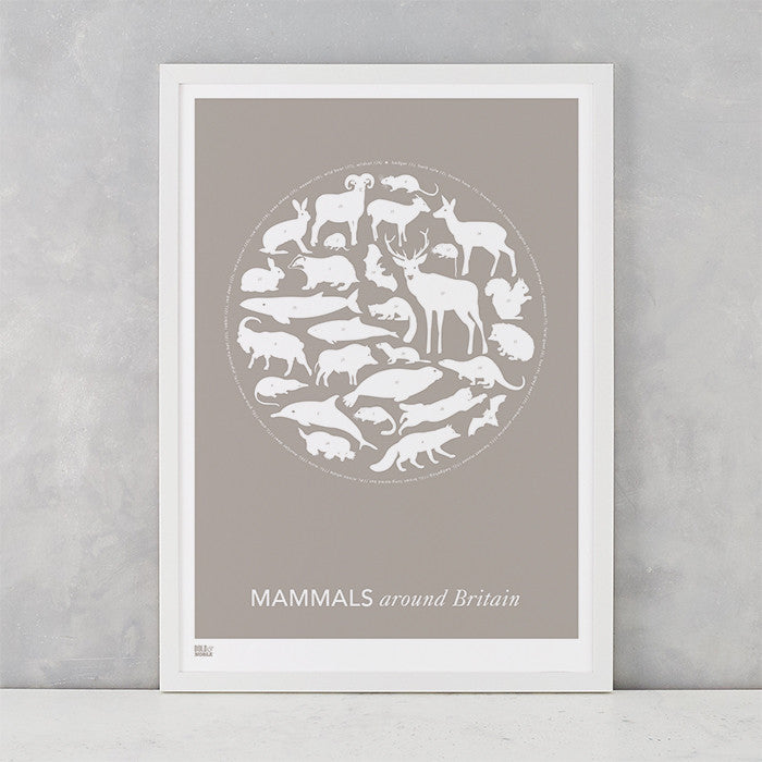 Mammals Around Britain Print in Warm Stone, screen printed on recycled paper, deliver worldwide