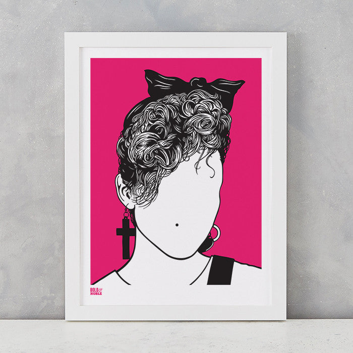 Madonna screen print in Magenta Pink, on recycled card, delivered worldwide
