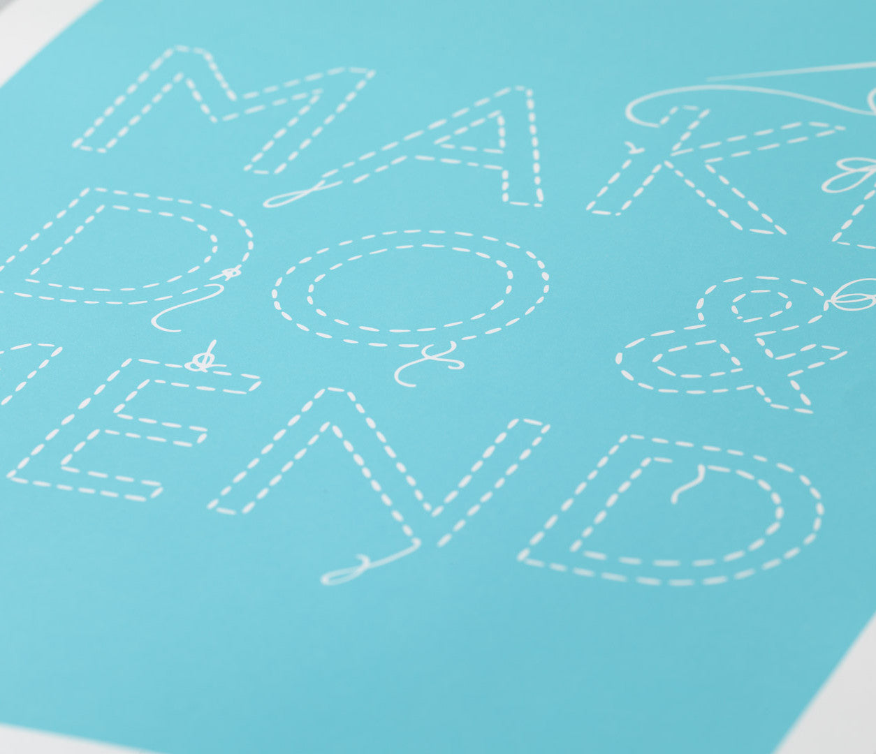 'Make Do and Mend' Art Print in Azure Blue