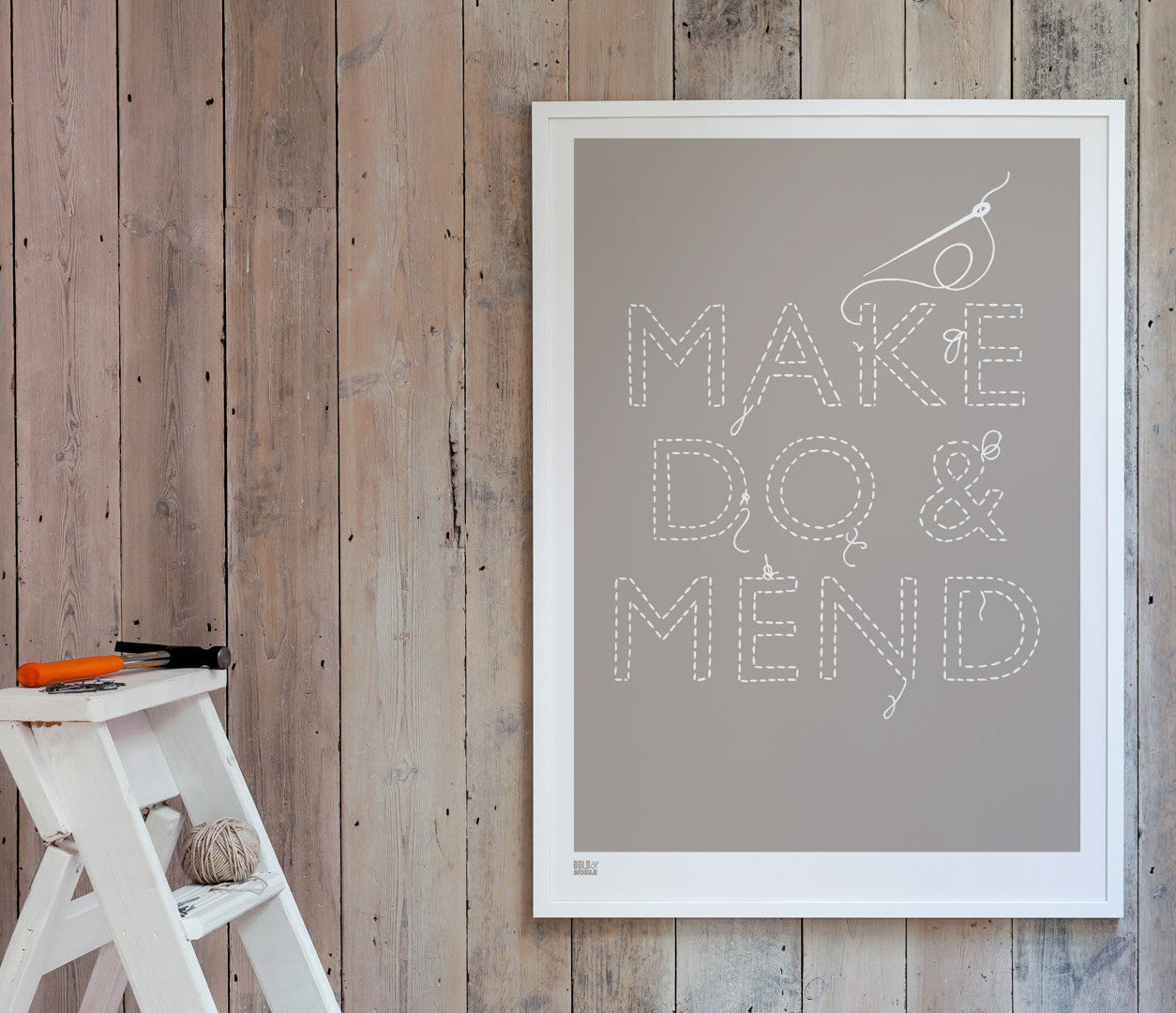 Pictures and Wall Art, Screen Printed Make do and Mend printed in Warm Stone