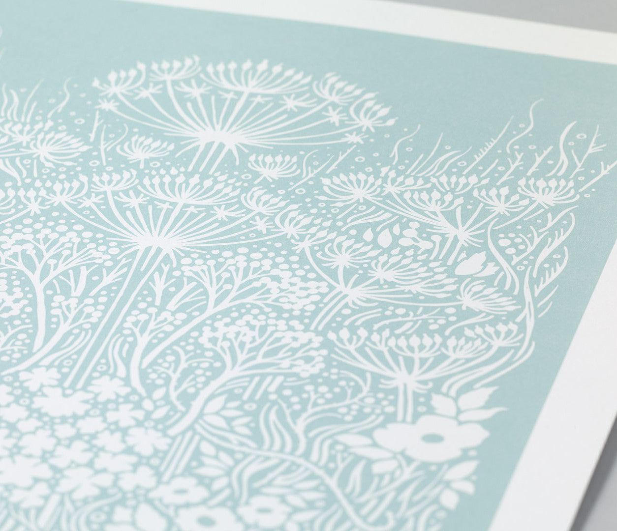 Close Up of Meadow Print in Duck Egg Blue