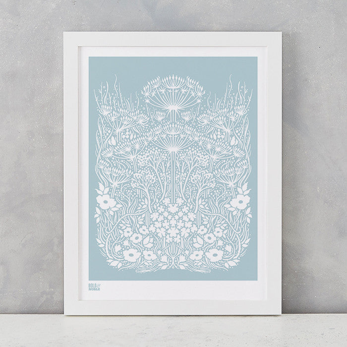 Meadow Print in Duck Egg Blue, screen printed on recycled paper, deliver worldwide
