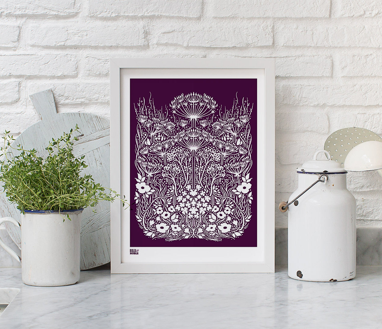 Wall Art ideas: Economical Screen Prints, Meadow Print in Dark Mulberry
