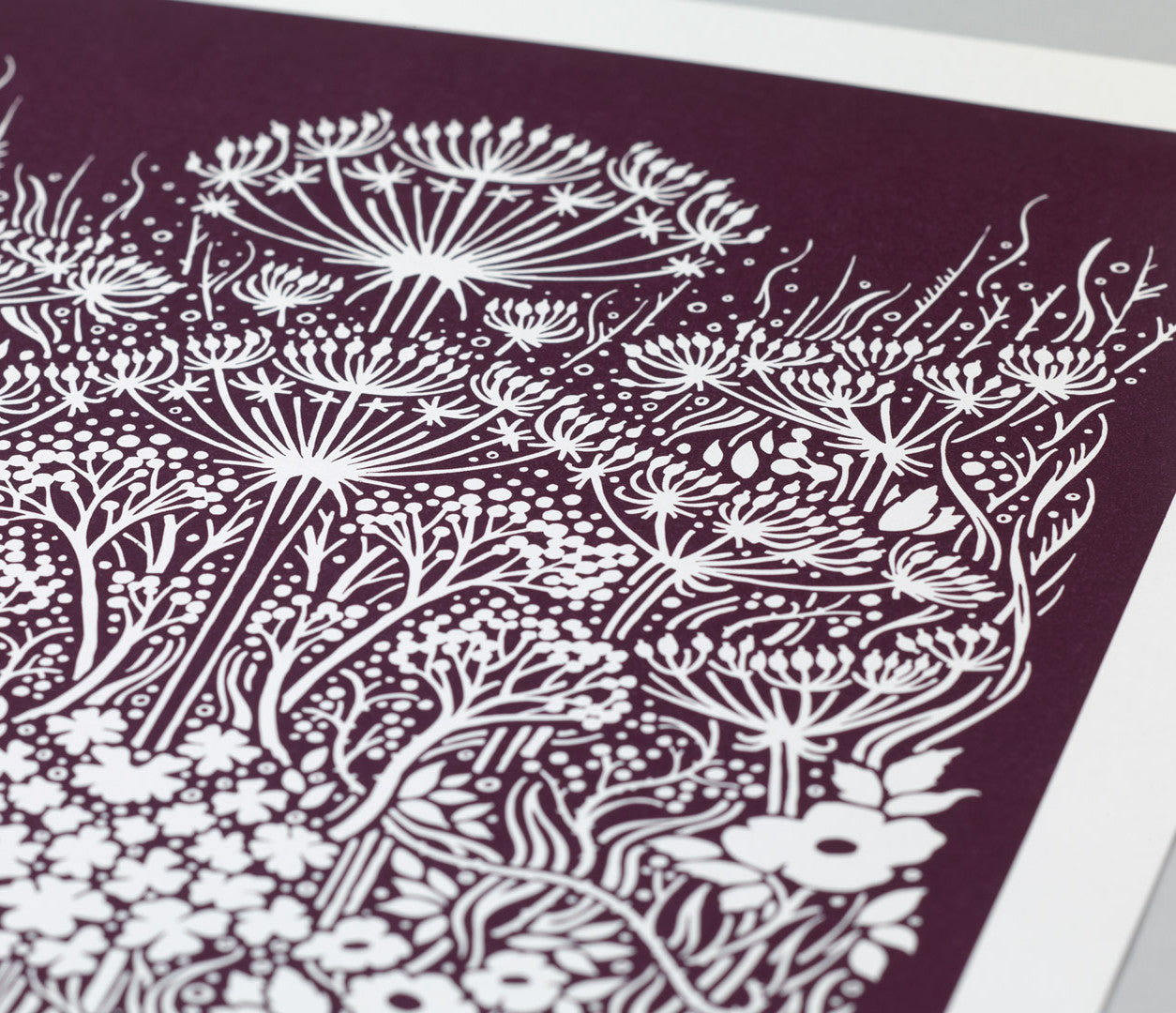 'Meadow' Art Print in Dark Mulberry