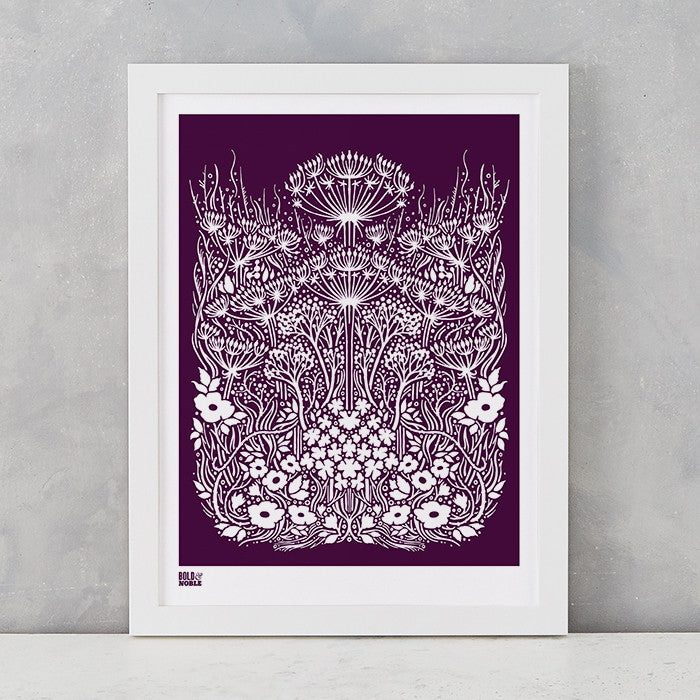 Meadow Print in Dark Mulberry, screen printed on recycled paper, deliver worldwide