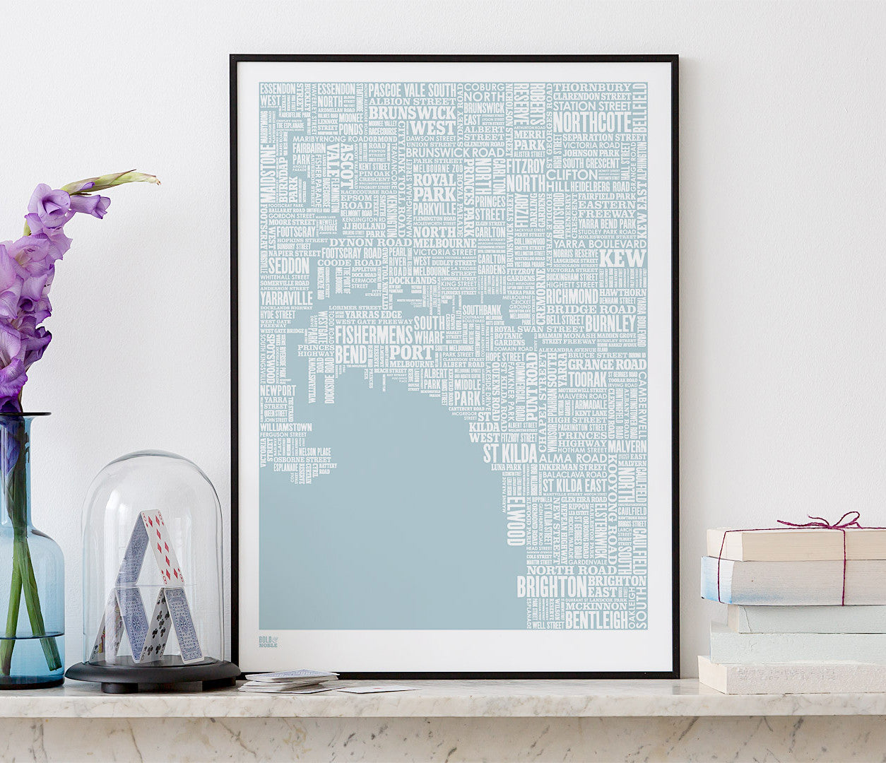 Wall Art ideas: Economical Screen Prints, Melbourne Type Map in Duck Egg Blue