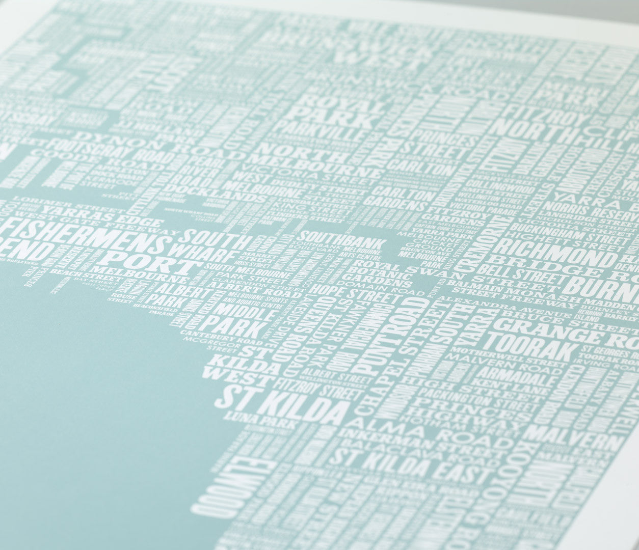 Close Up of Melbourne Type Map in Duck Egg Blue