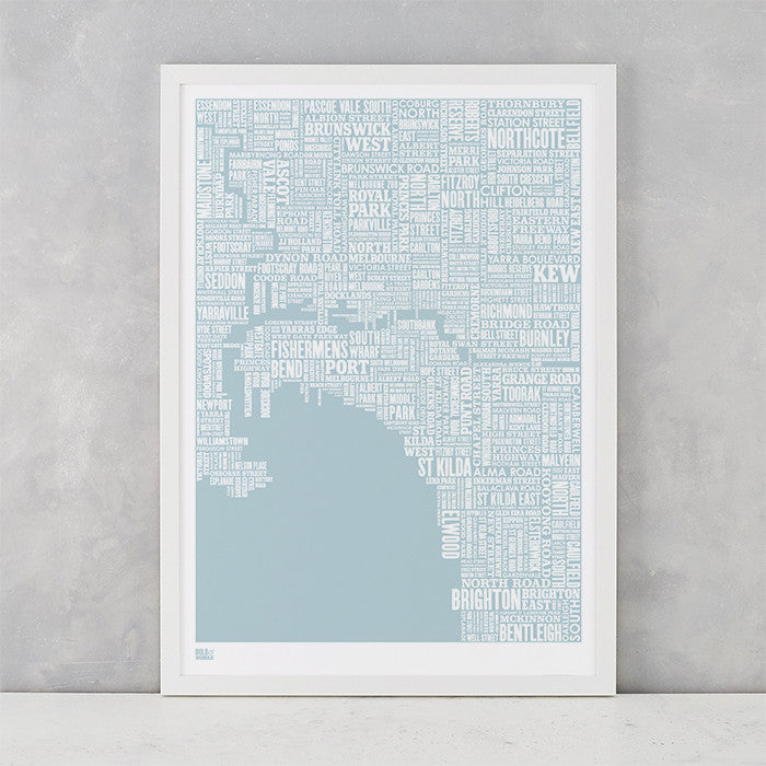 Melbourne Type Map in Duck Egg Blue, screen printed on recycled card, delivered worldwide