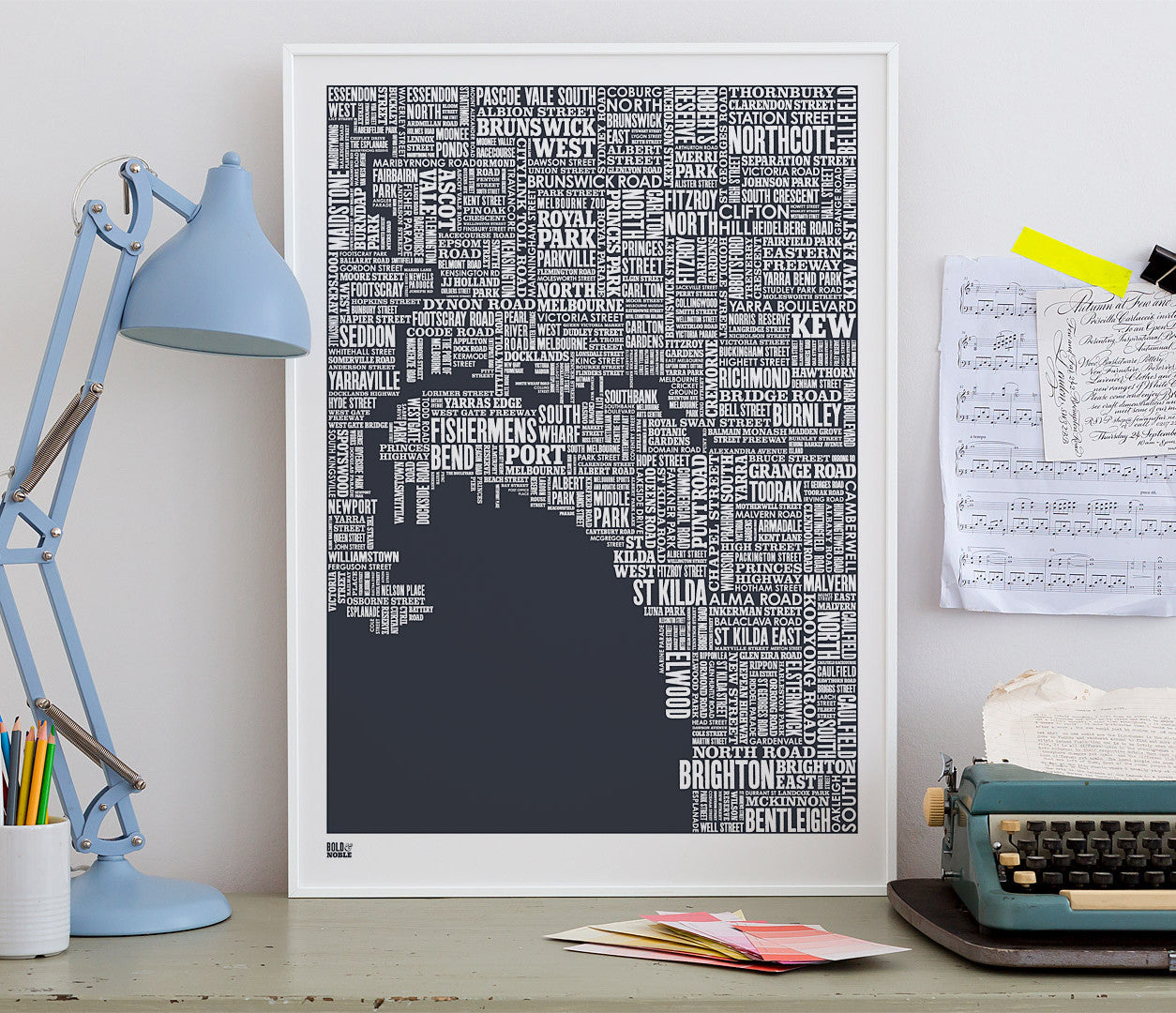 'Melbourne' Type Map Print in Sheer Slate