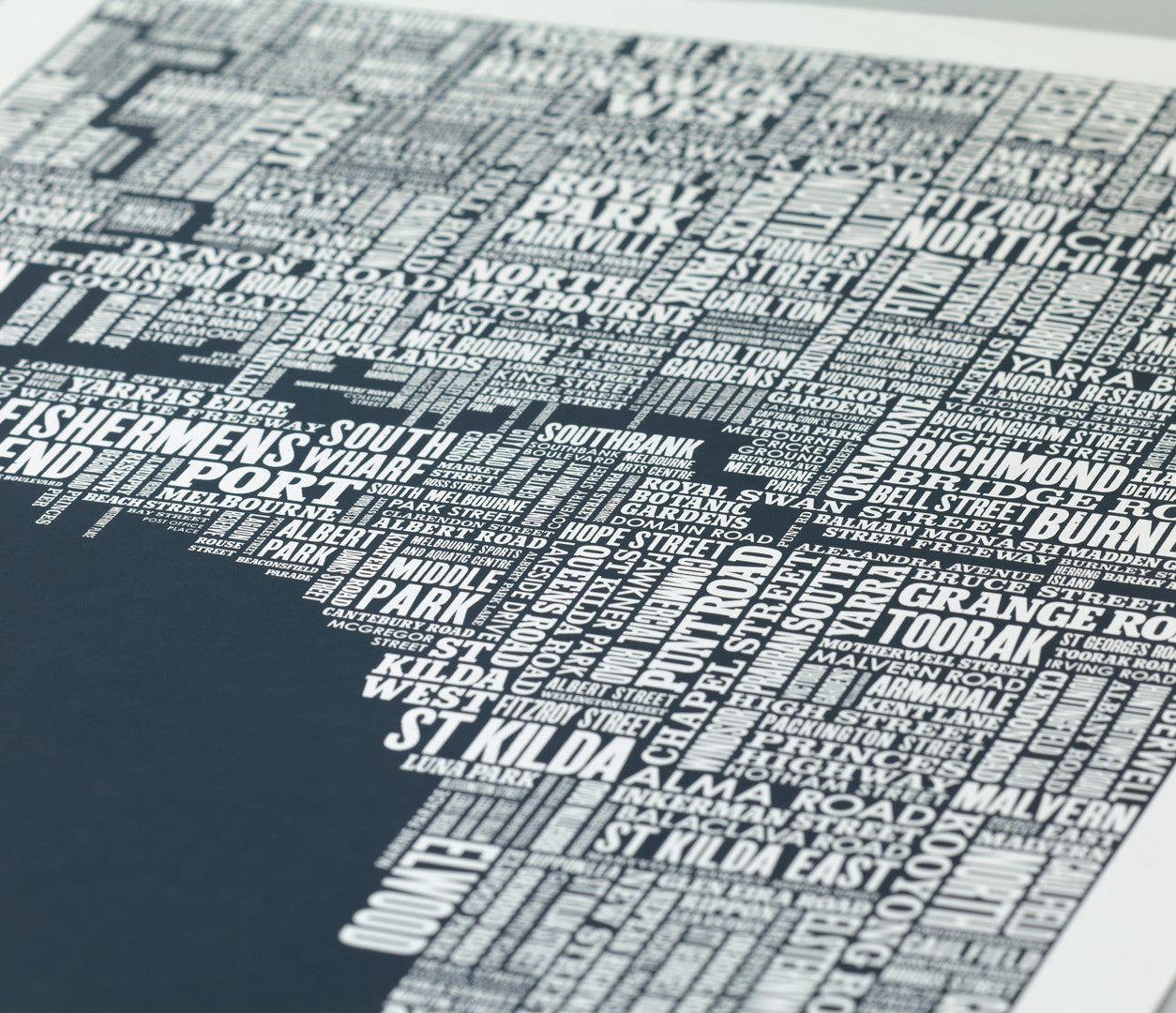 Close Up of Melbourne Type Map in Sheer Slate