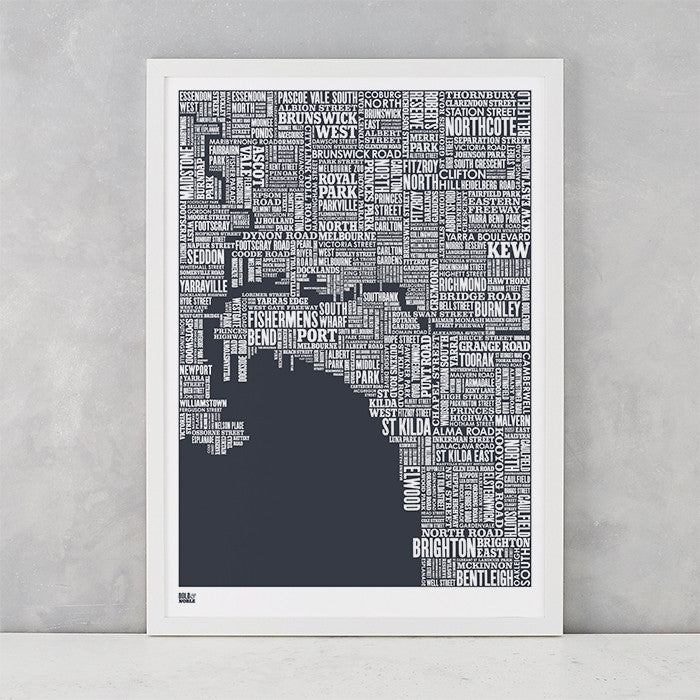Melbourne Type Map in Sheer Slate, screen printed on recycled card, delivered worldwide