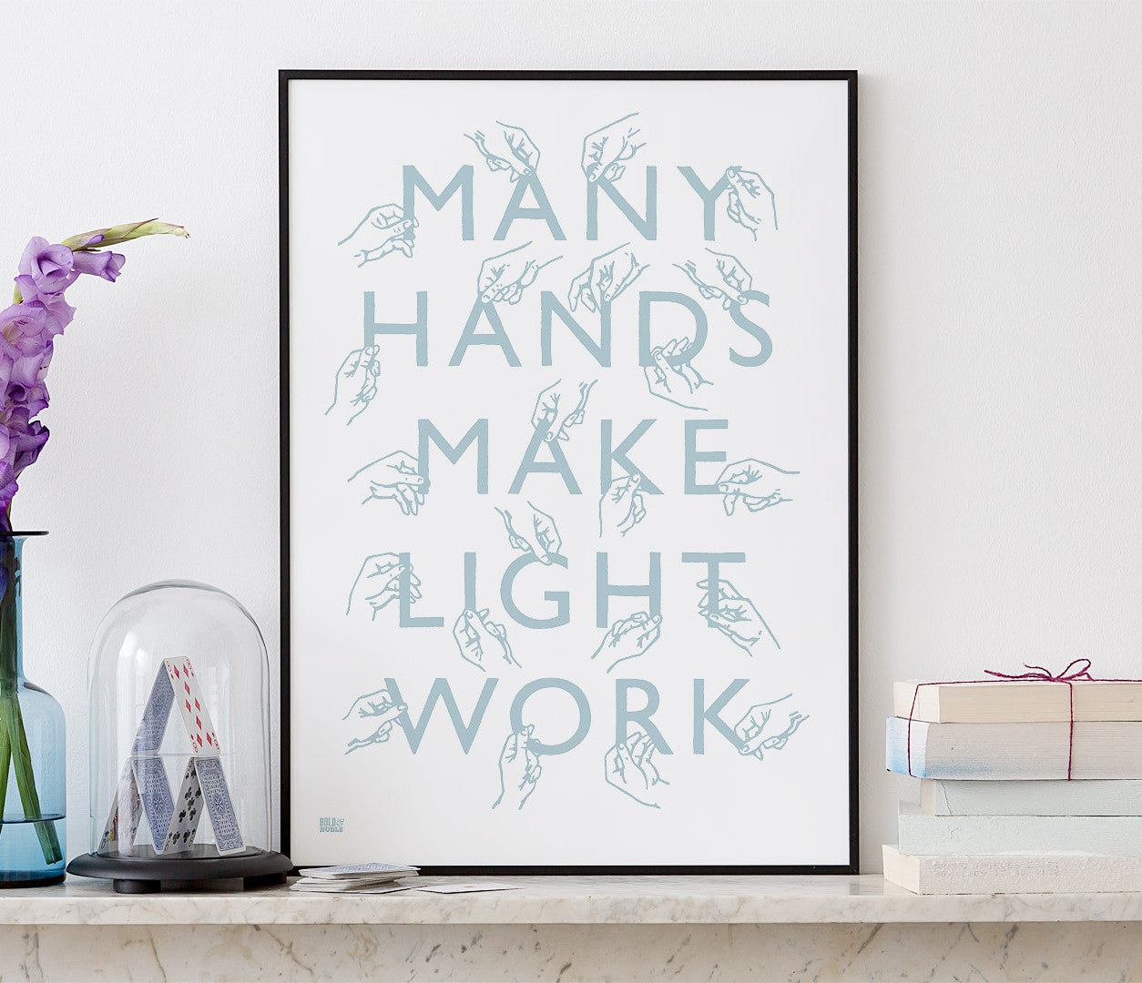 Wall Art ideas: Economical Screen Prints, Many Hands Print in Duck Egg Blue