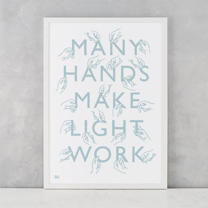 Many Hands Print in Duck Egg Blue, screen printed on recycled paper, deliver worldwide