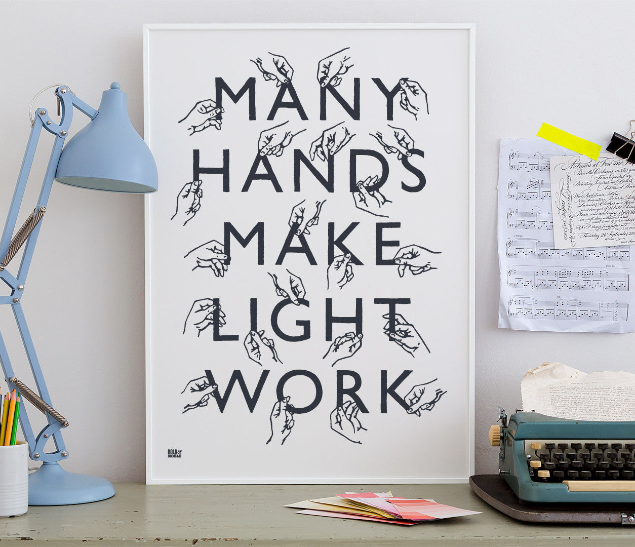Wall Art ideas: Economical Screen Prints, Many Hands Print in Sheer Slate