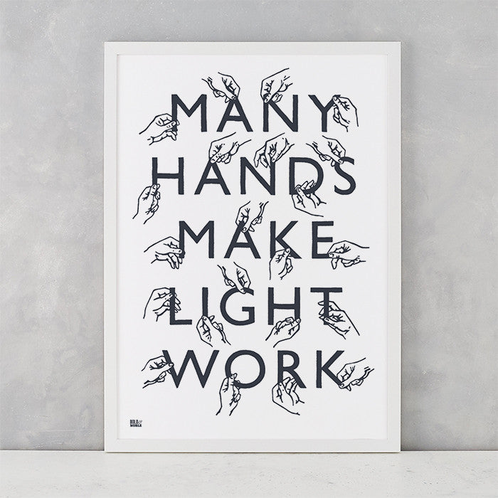 Many Hands Print in Sheer Slate, screen printed on recycled paper, deliver worldwide