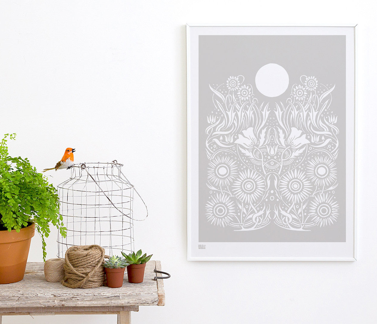 Wall Art ideas: Economical Screen Prints, Moonlight Print in Chalk Grey