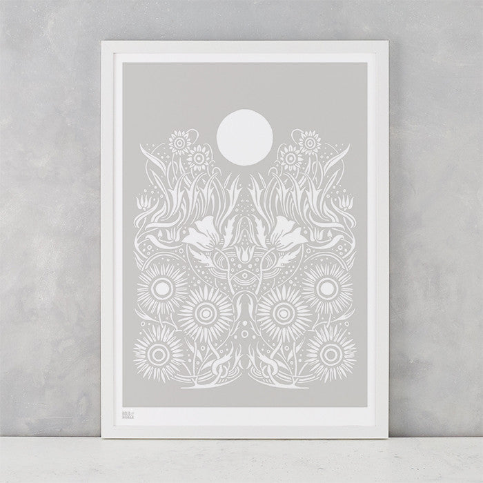Moonlight Print in Chalk Grey, screen printed on recycled paper, deliver worldwide