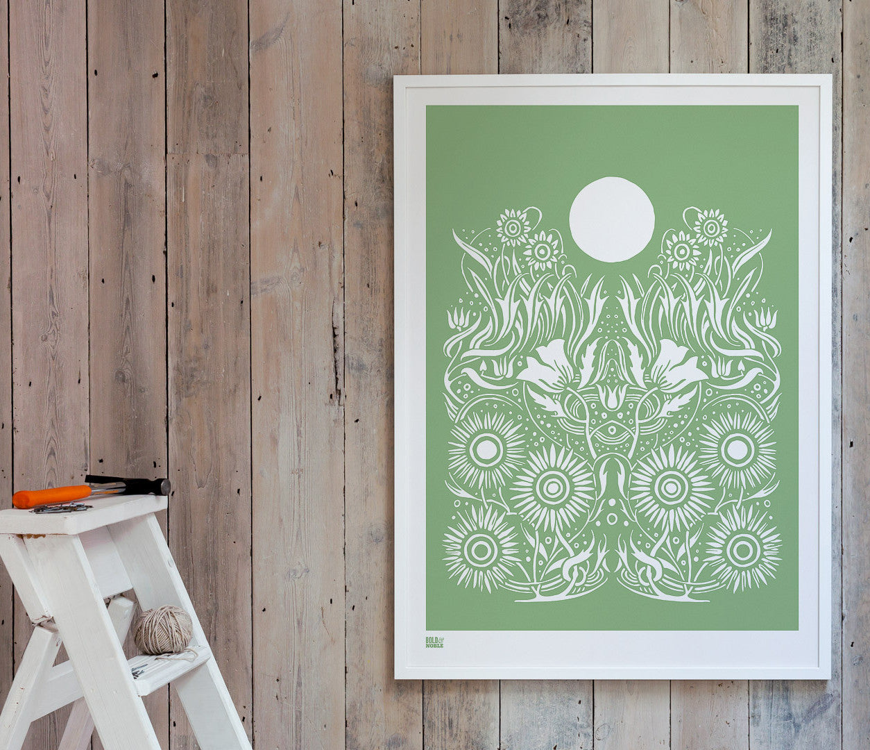 Wall Art ideas: Economical Screen Prints, Moonlight Print in Light Sage Green