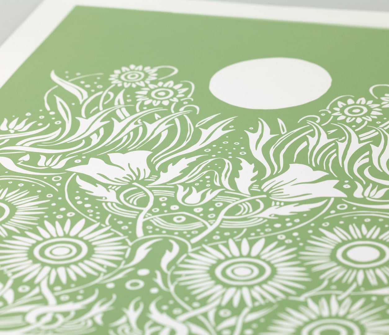 Close Up of Moonlight Print in Light Sage Green