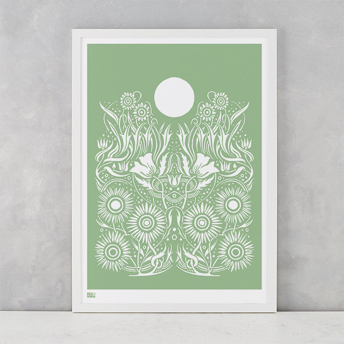 Moonlight Print in Light Sage Green, screen printed on recycled paper, deliver worldwide