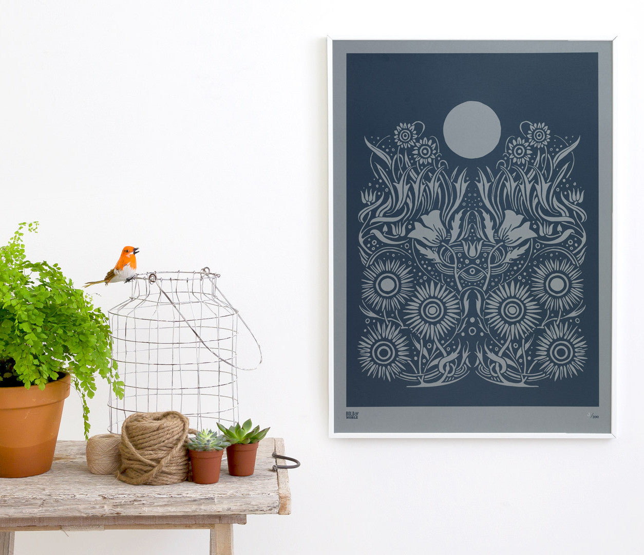 Wall Art ideas: Economical Screen Prints, Moonlight Limited Edition Print on grey card in Slate Grey
