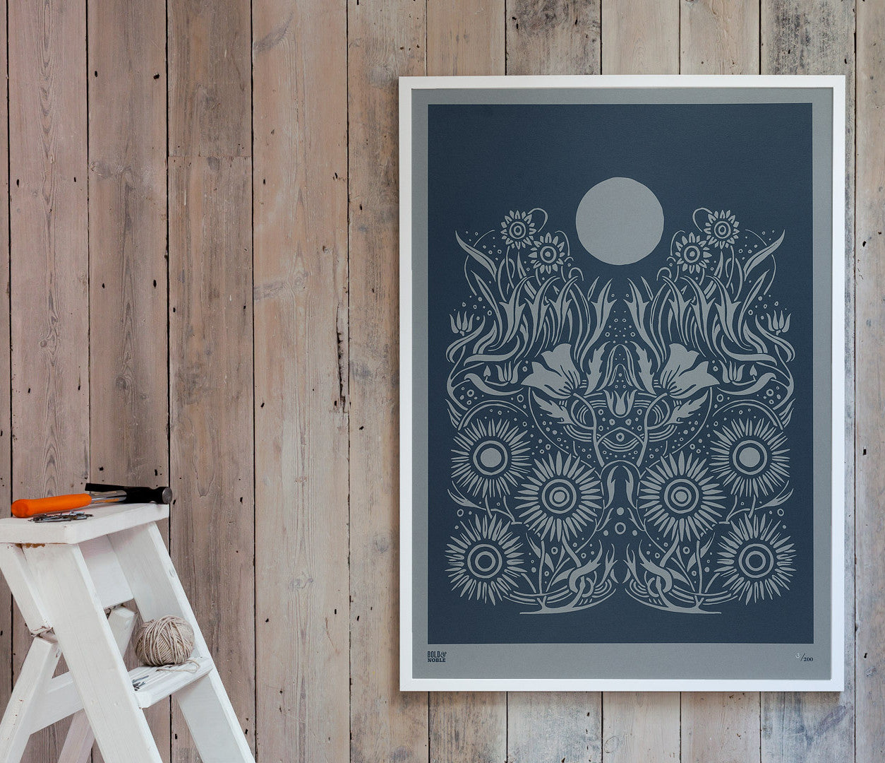 Pictures and Wall Art, Screen Printed Moonlight Limited Edition Print on grey card in slate grey