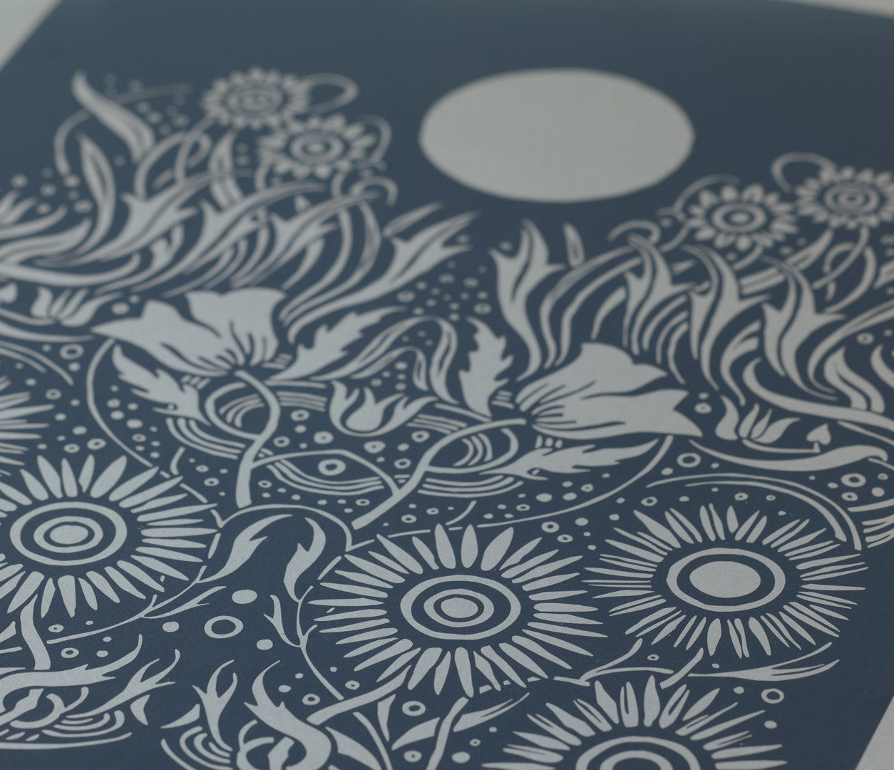 Close Up of Moonlight Print Limited Edition in Slate Grey