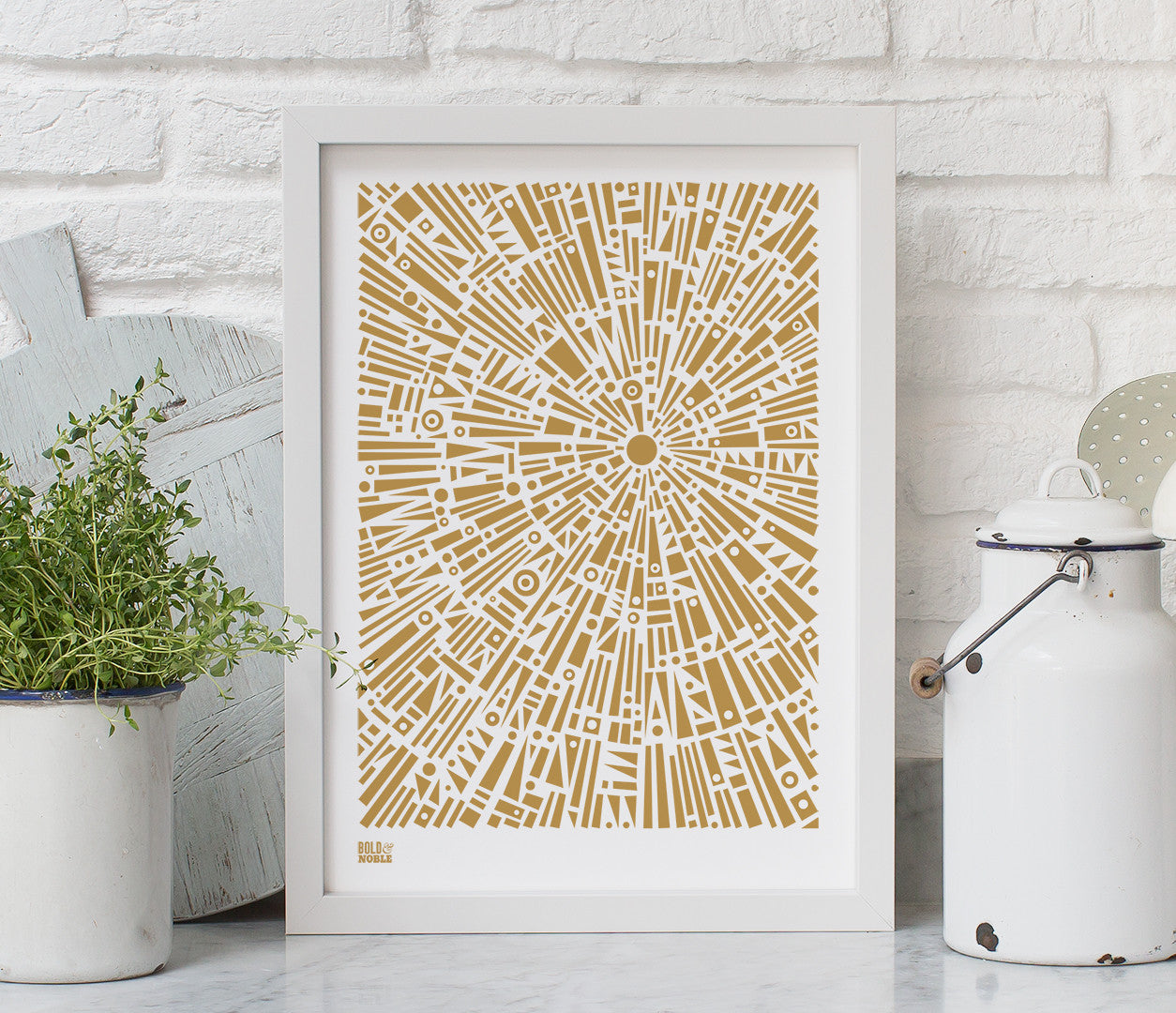 'Morning Light' Geometric Art Print in Bronze