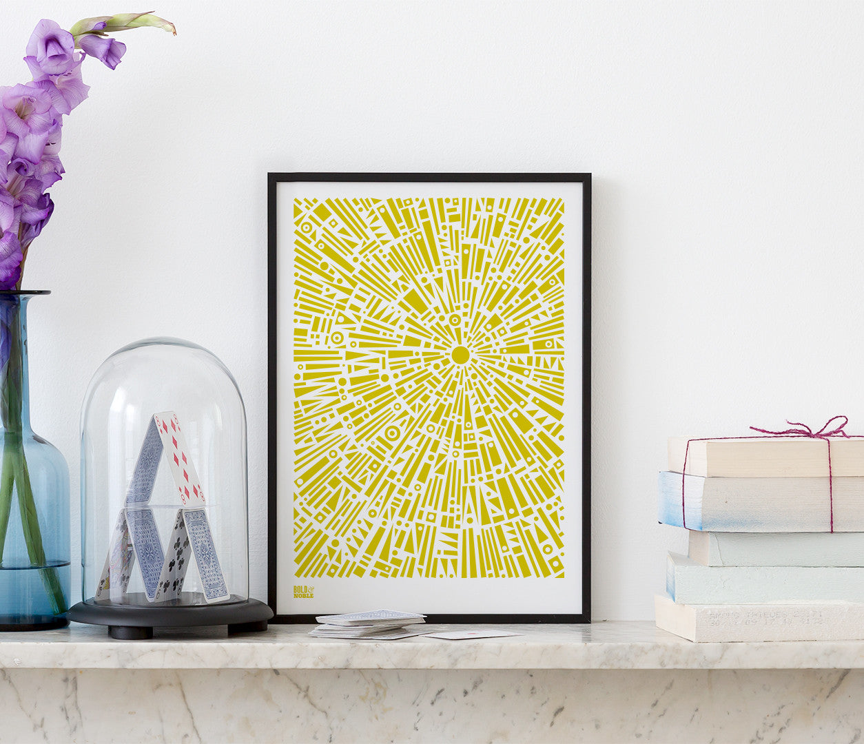 Pictures and Wall Art, Screen Printed Morning Light in Yellow Moss