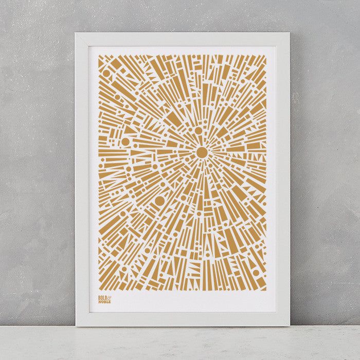 Morning Light Print in Bronze, screen printed on recycled card, deliver worldwide