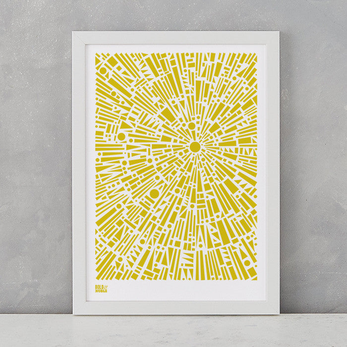 Morning Light Print in Yellow Moss, screen printed on recycled card, deliver worldwide